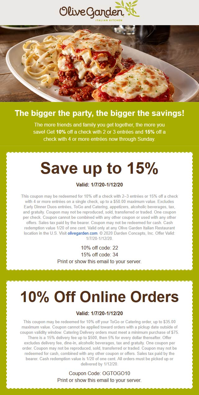 Olive Garden Coupon January 2020 10-15% off at Olive Garden