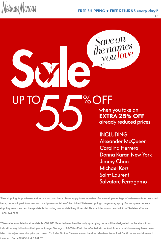 Neiman Marcus Coupon June 2017 Extra 25% off sale items at Neiman Marcus, also online