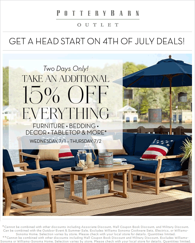 PotteryBarnOutlet.com Promo Coupon 15% off everything at Pottery Barn Outlet