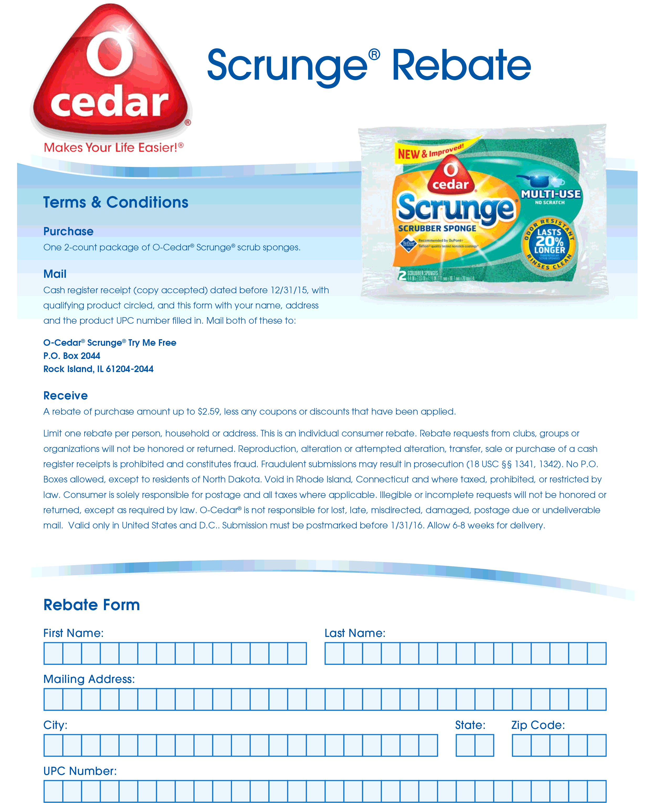 Rebate Coupon October 2016 Free dish sponges via snail mail Rebate