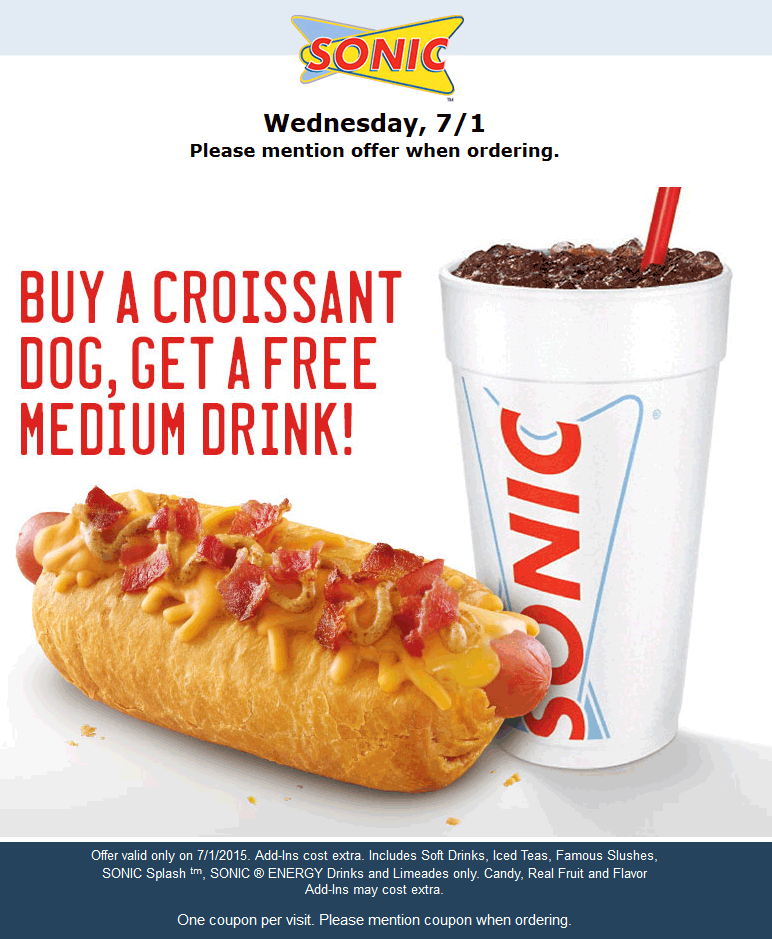 Sonic Drive-In Coupon December 2017 Free drink with your croissant dog today at Sonic Drive-In