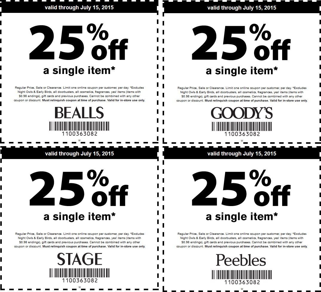 Bealls Coupon April 2018 25% off a single item at Goodys, Peebles, Bealls & Stage Stores