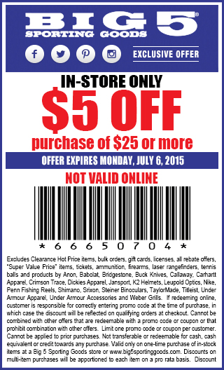 Big 5 Coupon July 2017 $5 off $25 at Big 5 sporting goods