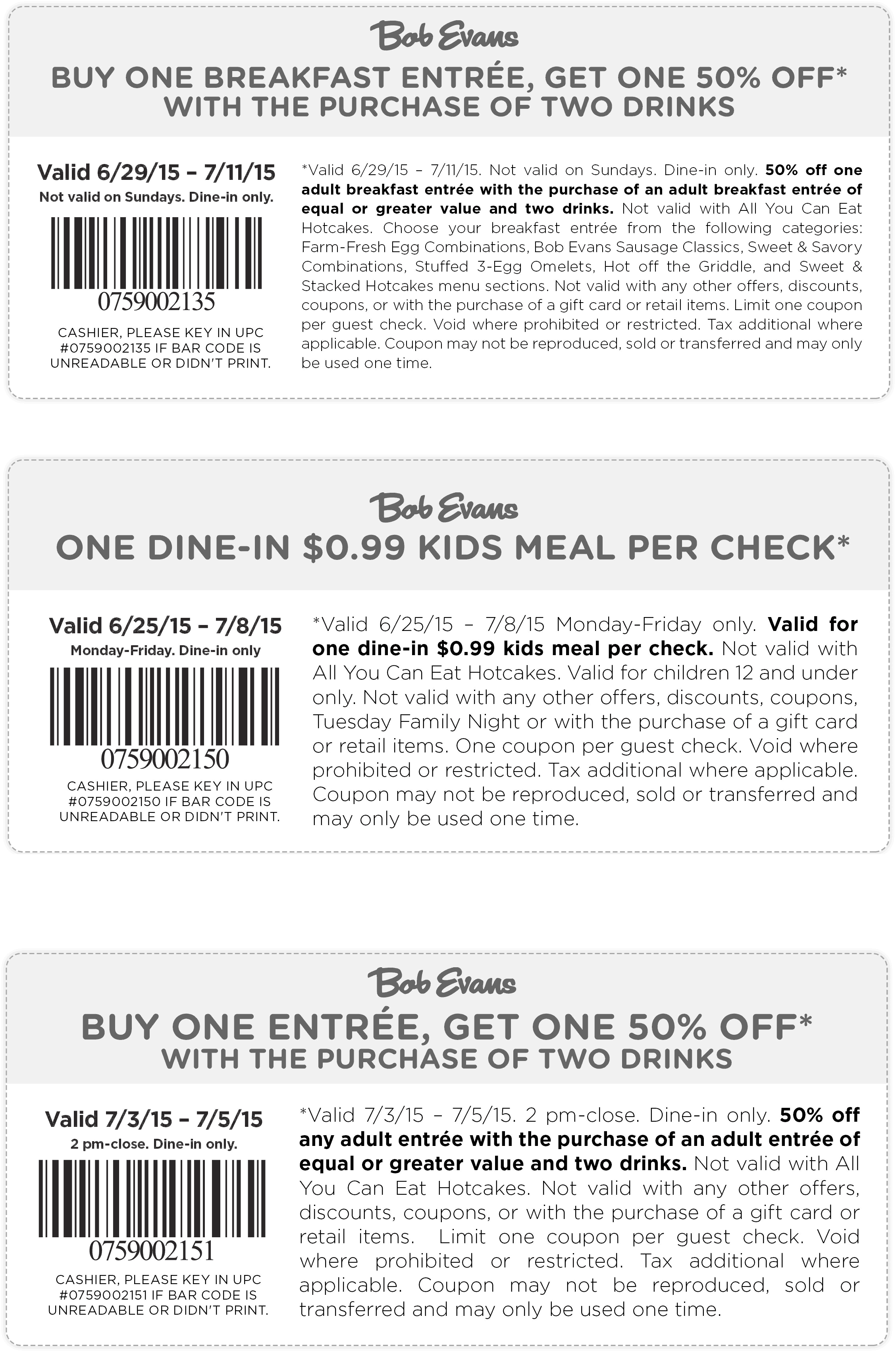 Bob Evans Coupon May 2018 Second breakfast 50% off + a kids meal for a buck at Bob Evans