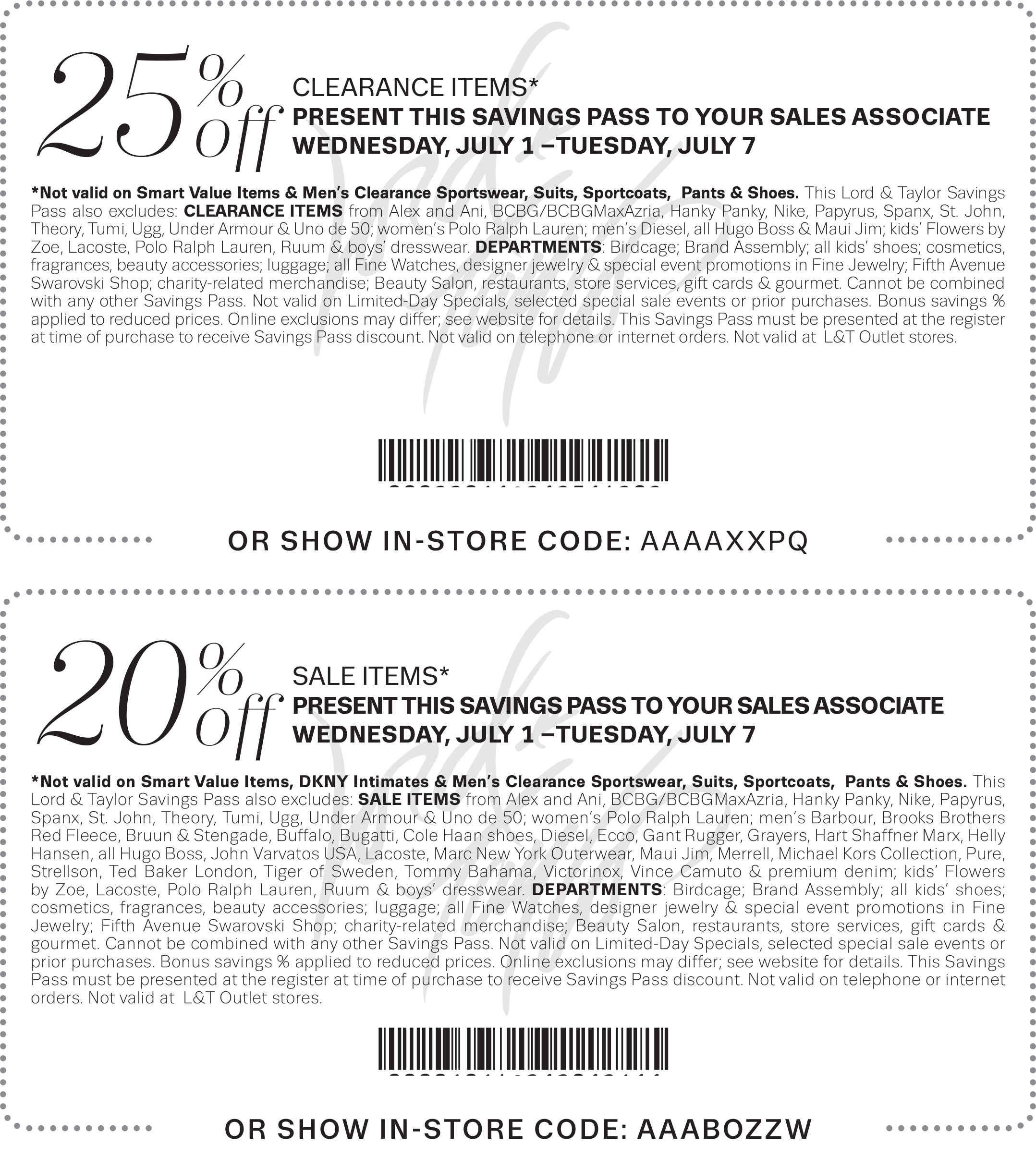 Lord & Taylor Coupon February 2017 Extra 20% off sale items + 25% off clearance at Lord & Taylor, or online via promo code FOURTH