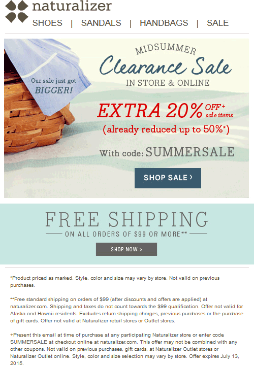 Naturalizer Coupon April 2018 Extra 20% off sale items at Naturalizer, or online via promo code SUMMERSALE