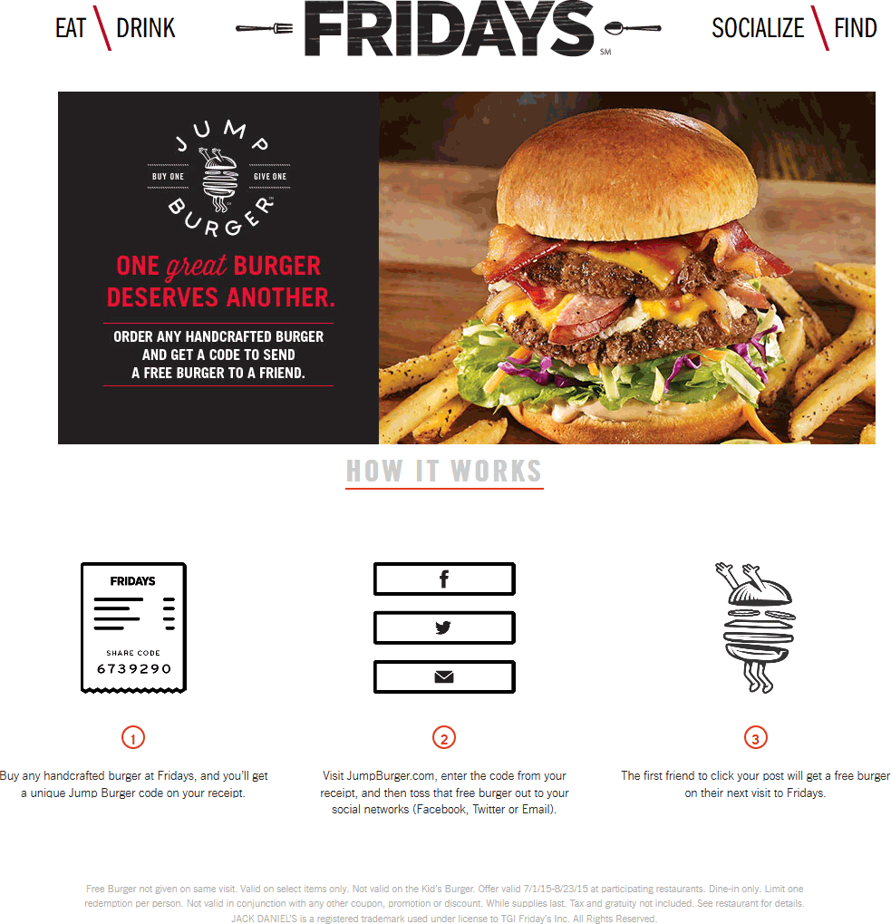 TGI Fridays Coupon December 2016 Second burger free on return visit by jumping through hoops at TGI Fridays