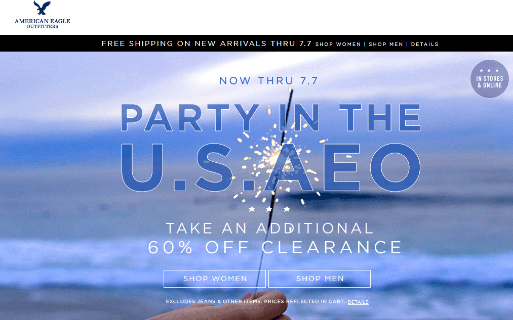 American Eagle Outfitters Coupon February 2019 Extra 60% off clearance at American Eagle Outfitters, ditto online