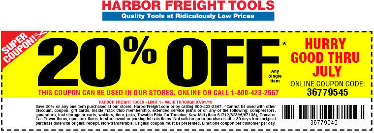 Harbor Freight Tools Coupon January 2017 20% off a single item at Harbor Freight Tools, or online via promo code 36779545