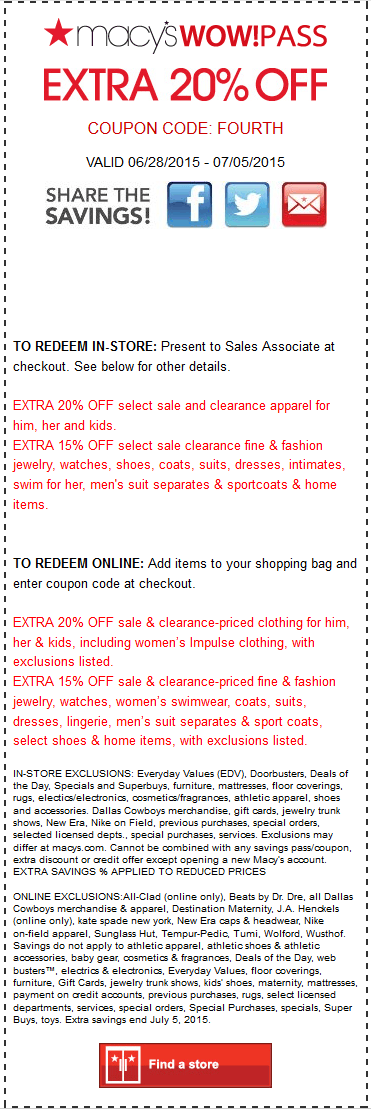 Macys Coupon July 2019 Extra 20% off sale & clearance apparel at Macys, or online via promo code FOURTH