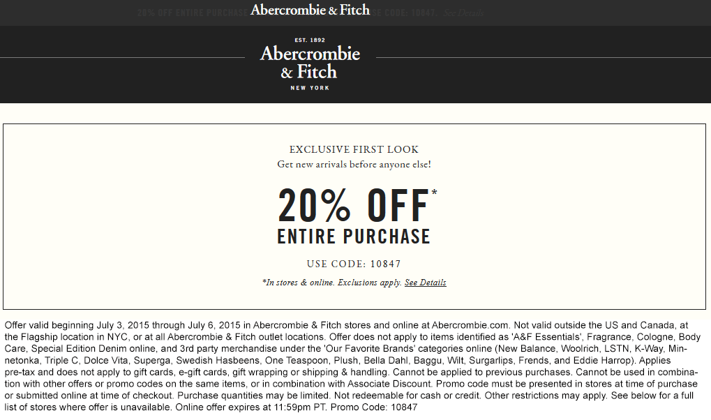 Abercrombie & Fitch Coupon October 2016 20% off at Abercrombie & Fitch, or online via promo code 10847