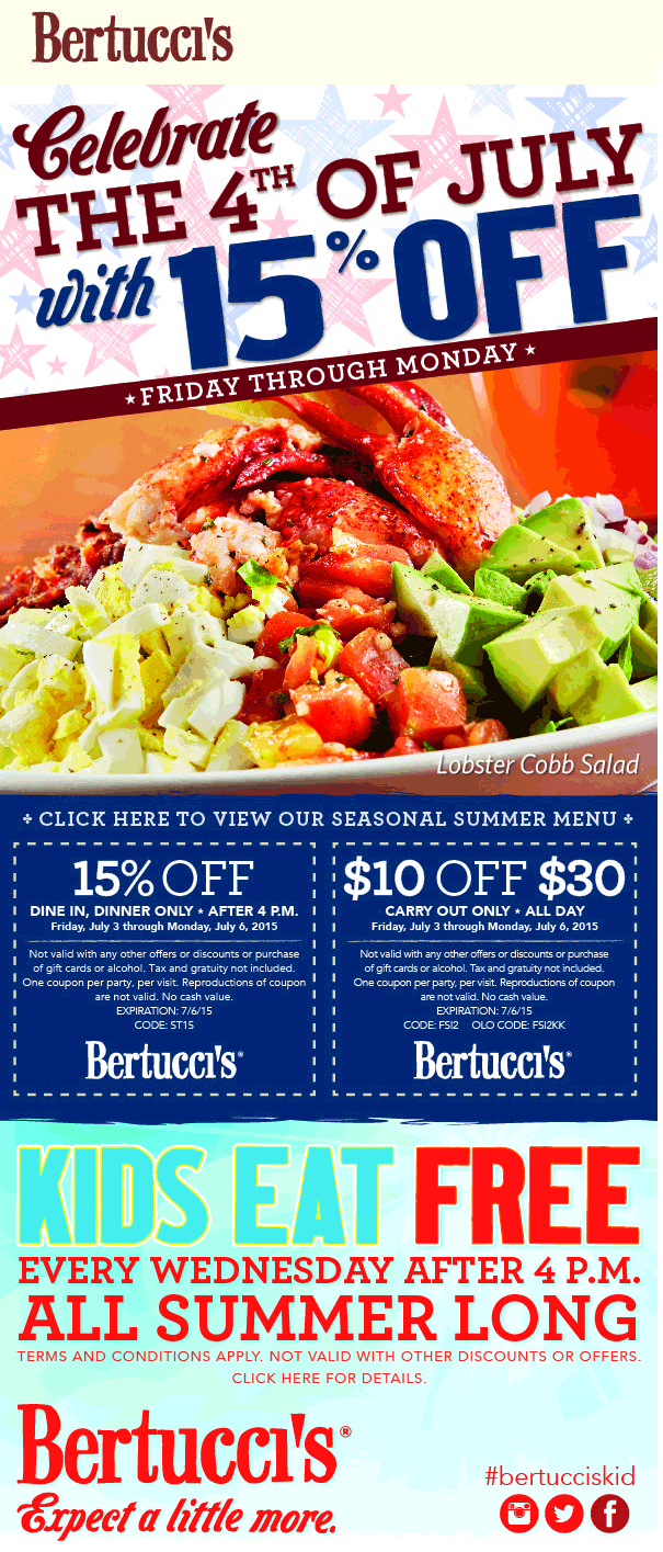 Bertuccis Coupon August 2017 $10 off $30 on takeout, 15% off dinner at Bertuccis