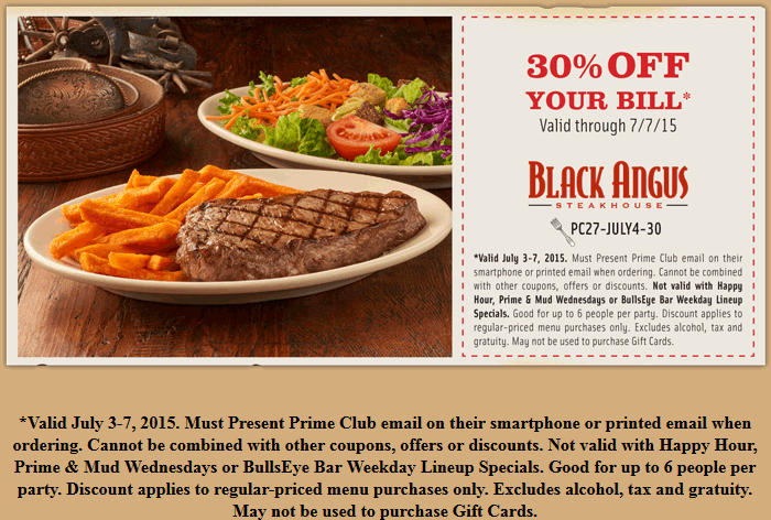 Black Angus Coupon April 2017 30% off at Black Angus steakhouse