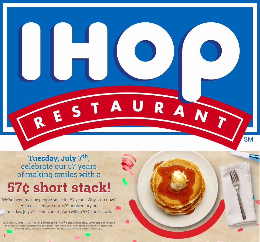 IHOP Coupon August 2017 Almost-free pancakes Tuesday at IHOP