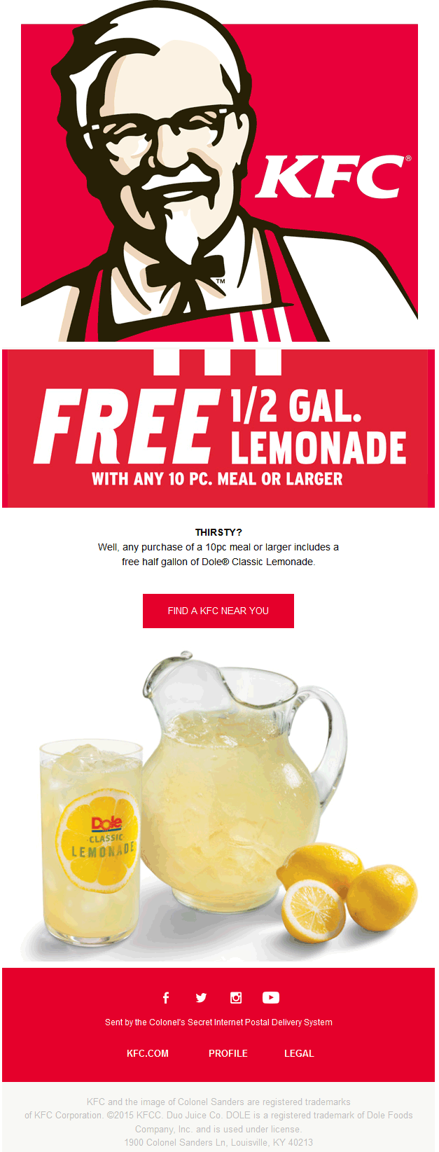 KFC Coupon November 2017 Free lemonade with your 10pc at KFC