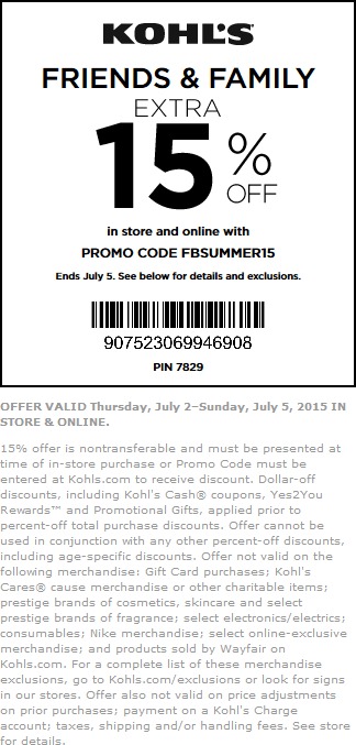 Kohls Coupon August 2018 15% off at Kohls, or online via promo code FBSUMMER15