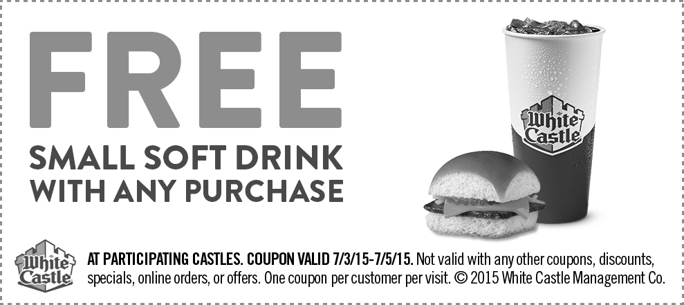 White Castle Coupon September 2017 Free drink with any order at White Castle