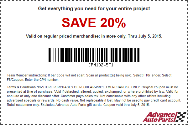 Advance Auto Parts Coupon June 2018 20% off today at Advance Auto Parts