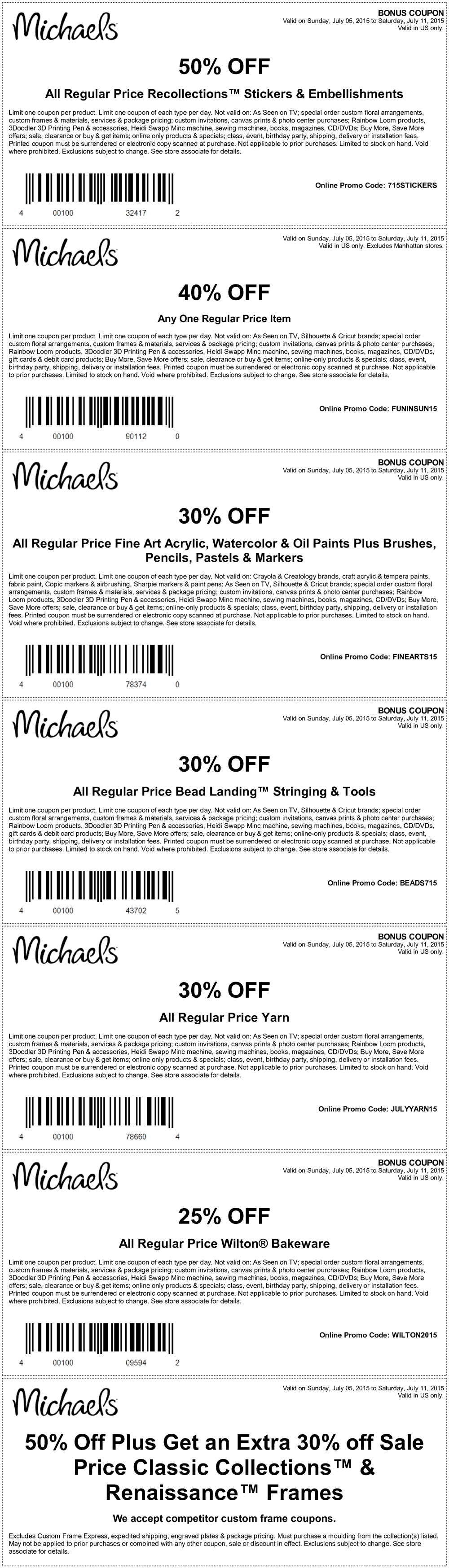 Michaels Coupon May 2017 40% off a single item & more at Michaels, or online via promo code FUNNSUN15
