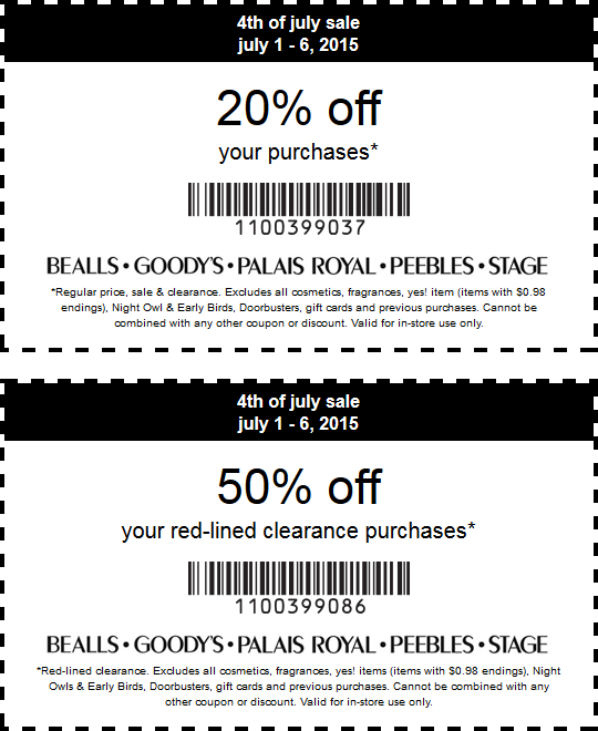 Stage Stores Coupon March 2017 20% off regular, 50% off clearance at Bealls, Goodys, Palais Royal, Peebles & Stage Stores