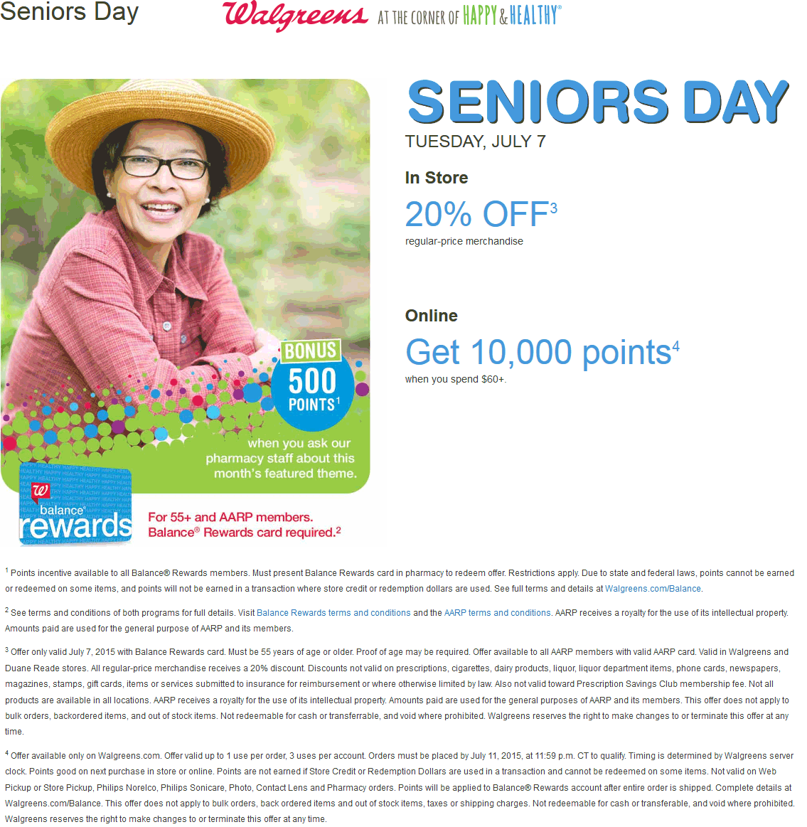 Walgreens Coupon July 2017 Seniors enjoy 20% off Tuesday at Walgreens & Duane Reade