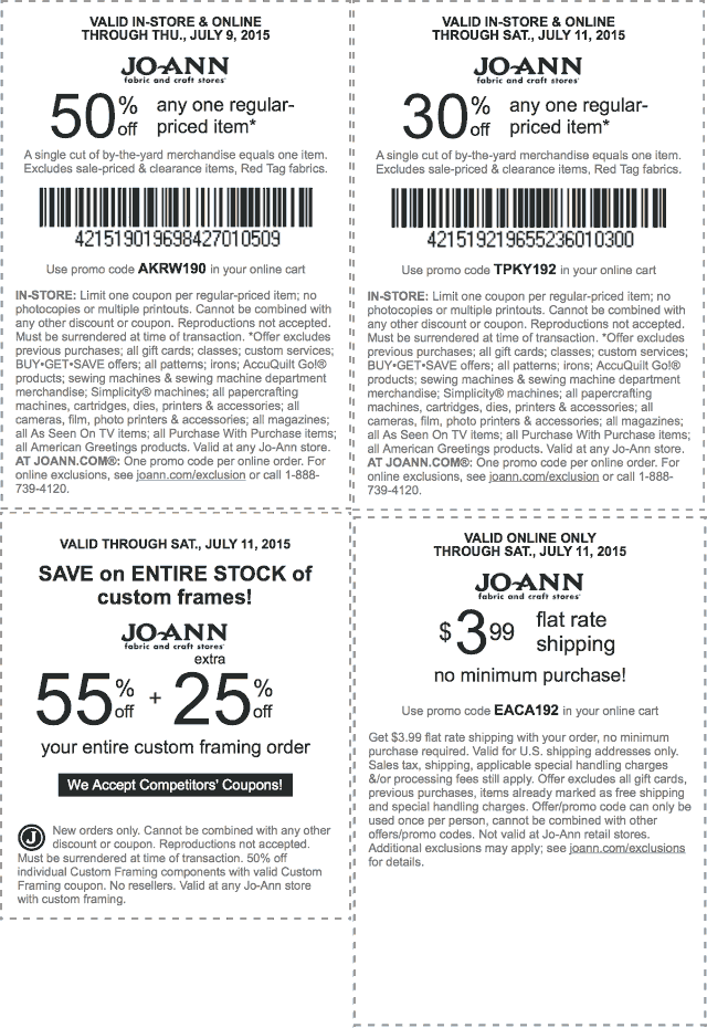 Jo-Ann Fabric Coupon February 2017 50% off a single item & more at Jo-Ann Fabric, or online via promo code AKRW190