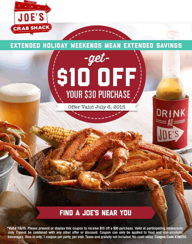 Joes Crab Shack Coupon January 2017 $10 off $30 today at Joes Crab Shack restaurants