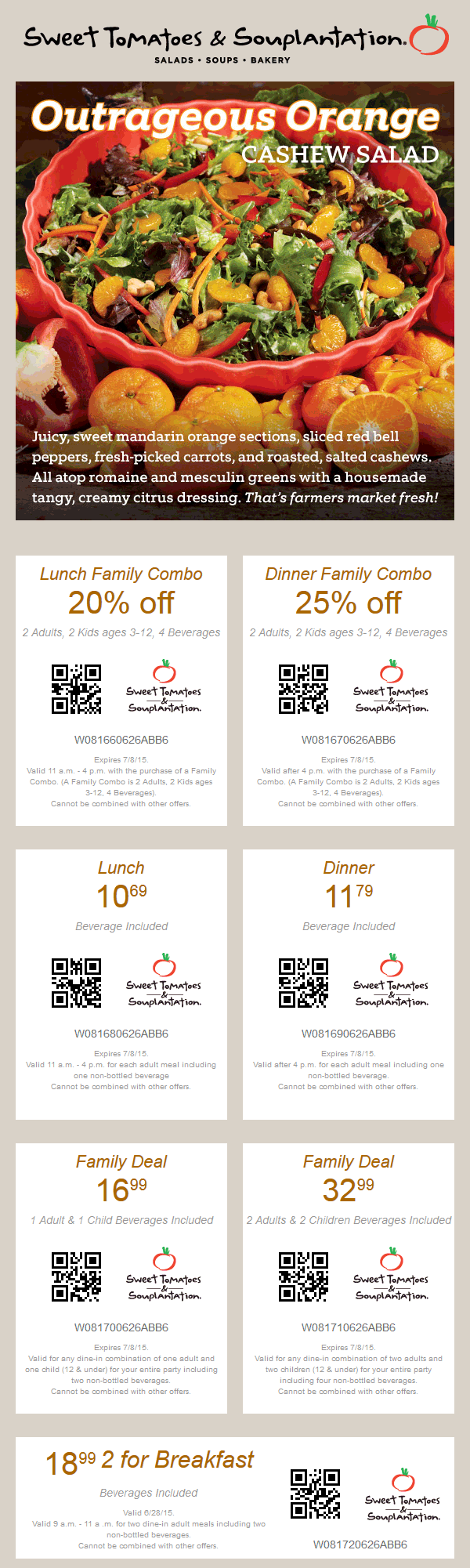 Sweet Tomatoes Coupon October 2016 20% off lunch, 25% off dinner & more at Souplantation & Sweet Tomatoes