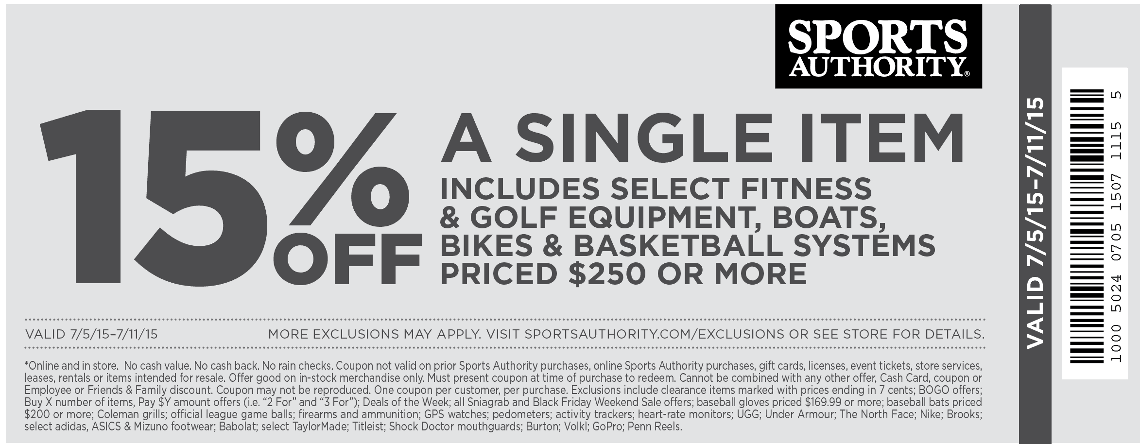 Sports Authority Coupon August 2017 15% off a single big ticket item at Sports Authority, ditto online