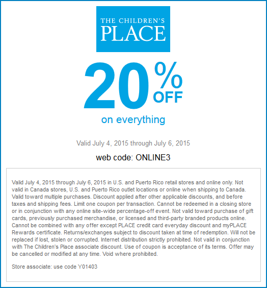 Childrens Place Coupon February 2017 20% off everything today at The Childrens Place, or online via promo code ONLINE3