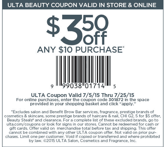 Ulta Coupon February 2017 $3 off $10 at Ulta beauty, or online via promo code 301872