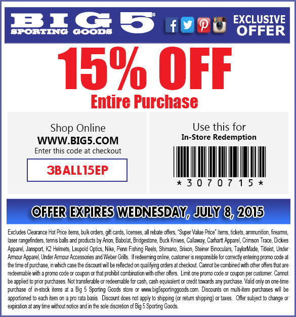 Big 5 Coupon February 2019 15% off at Big 5 sporting goods, or online via promo code 3BALL15EP