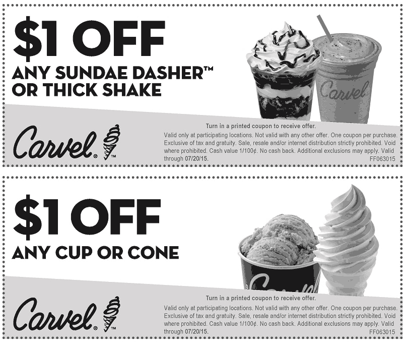 Carvel Coupon November 2018 Shave $1 buck off your ice cream from Carvel