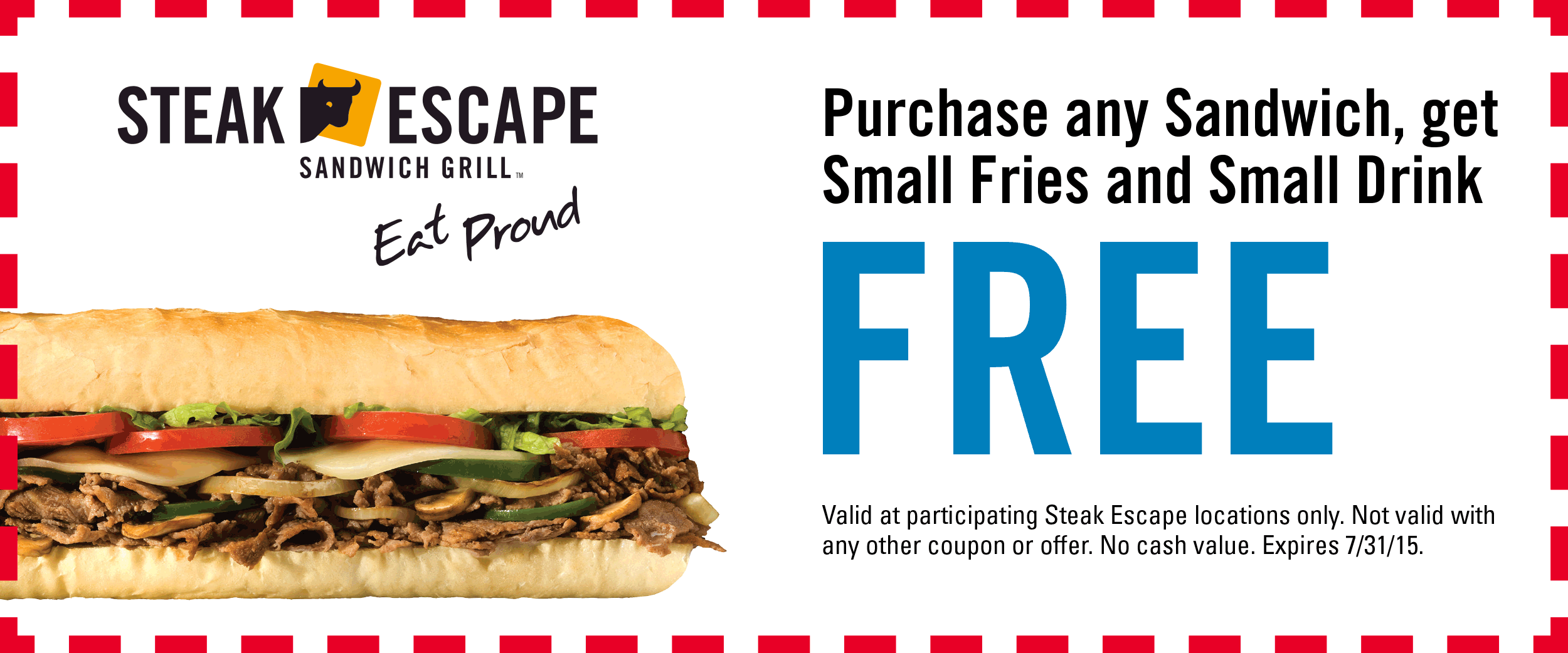 Steak Escape Coupon September 2017 Free fries & drink with your sandwich at Steak Escape grill