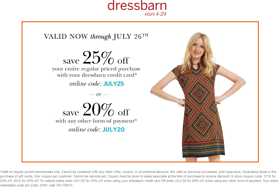 Dressbarn Coupon March 2017 20-25% off at Dressbarn, or online via promo code JULY20