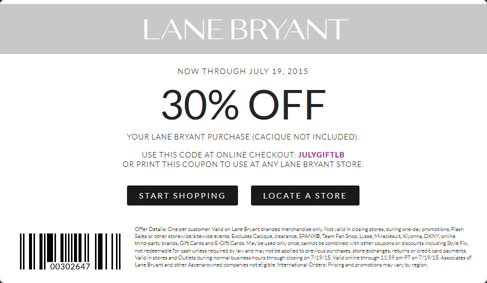 Lane Bryant Coupon February 2017 30% off at Lane Bryant, or online via promo code JULYGIFTLB