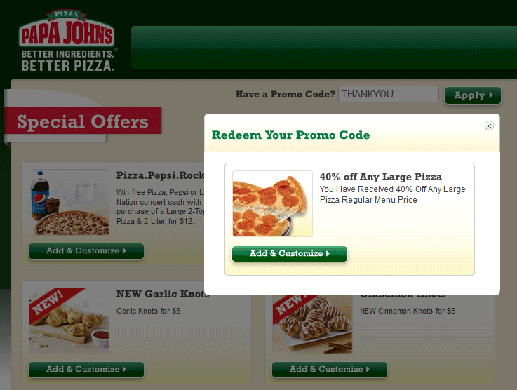 Papa Johns Coupon May 2017 40% off a large pizza at Papa Johns via promo code THANKYOU