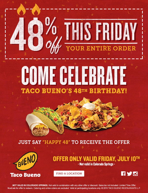 Taco Bueno Coupon August 2017 48% off your meals Friday at Taco Bueno