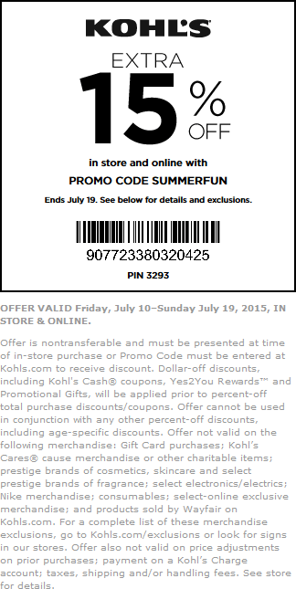 Kohls Coupon March 2017 15% off at Kohls, or online via promo code SUMMERFUN