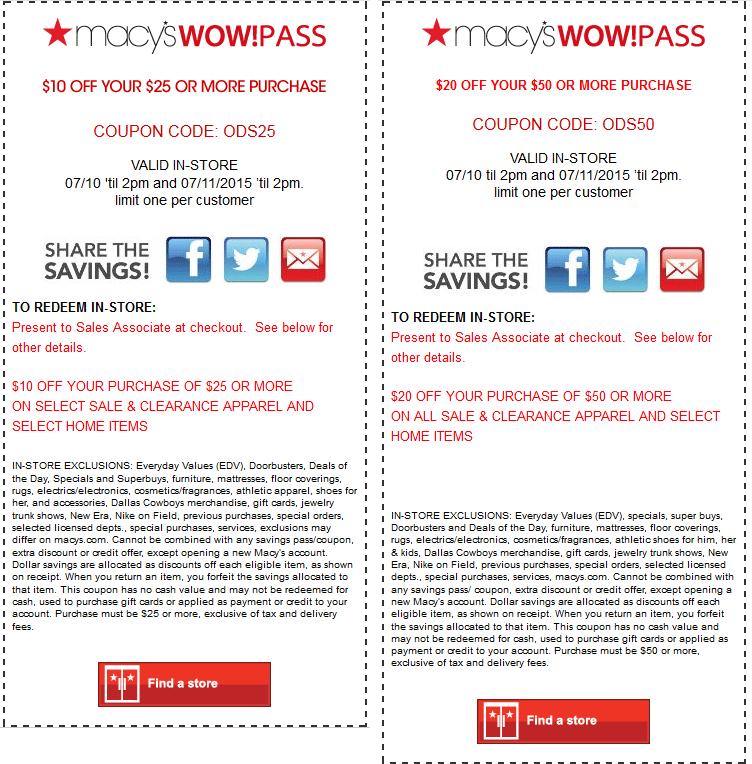 Macys Coupon March 2018 $10 off $25 & more til 2pm at Macys