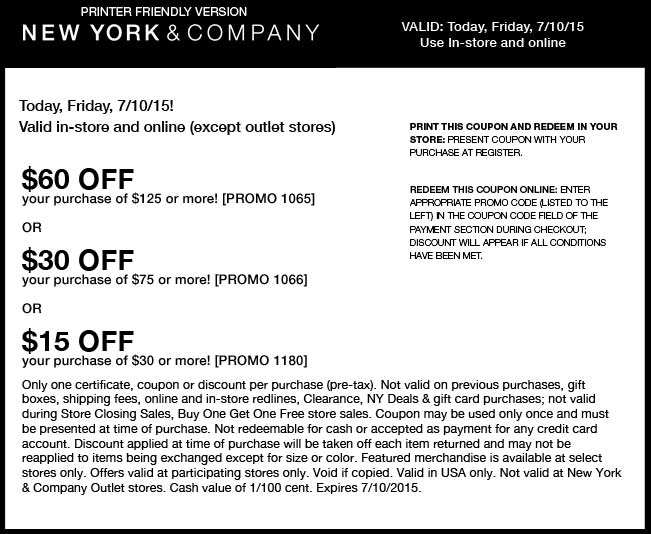 New York & Company Coupon June 2018 $15 off $30 & more today at New York & Company, or online via promo code 1180