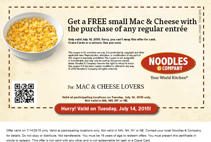 Noodles & Company Coupon May 2017 Free mac & cheese with your entree Tuesday at Noodles & Company