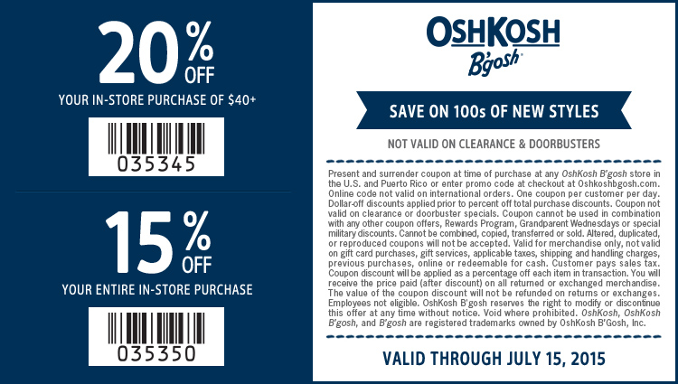 OshKosh Bgosh Coupon February 2019 15-20% off at OshKosh Bgosh