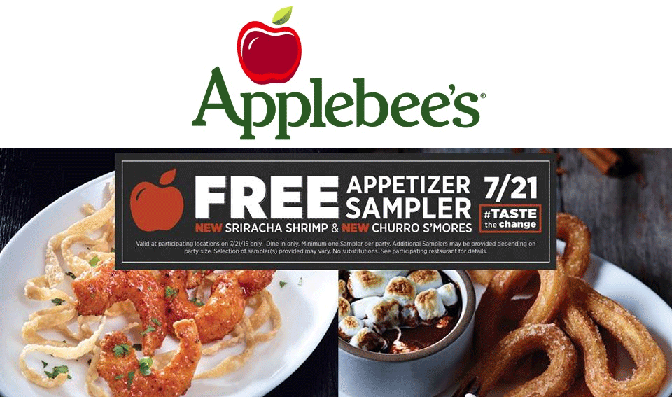 Applebees Coupon July 2017 Free appetizer sampler the 21st at Applebees