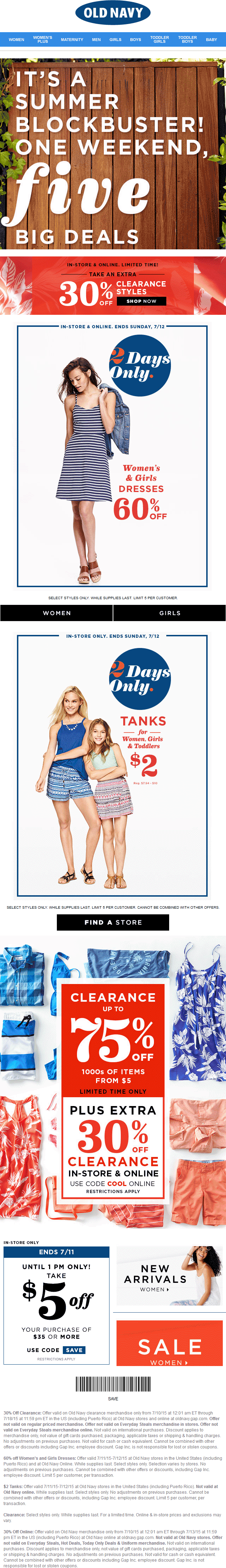 Old Navy Coupon August 2017 $5 off $25, extra 30% off clearance & more at Old Navy, or online via promo code COOL
