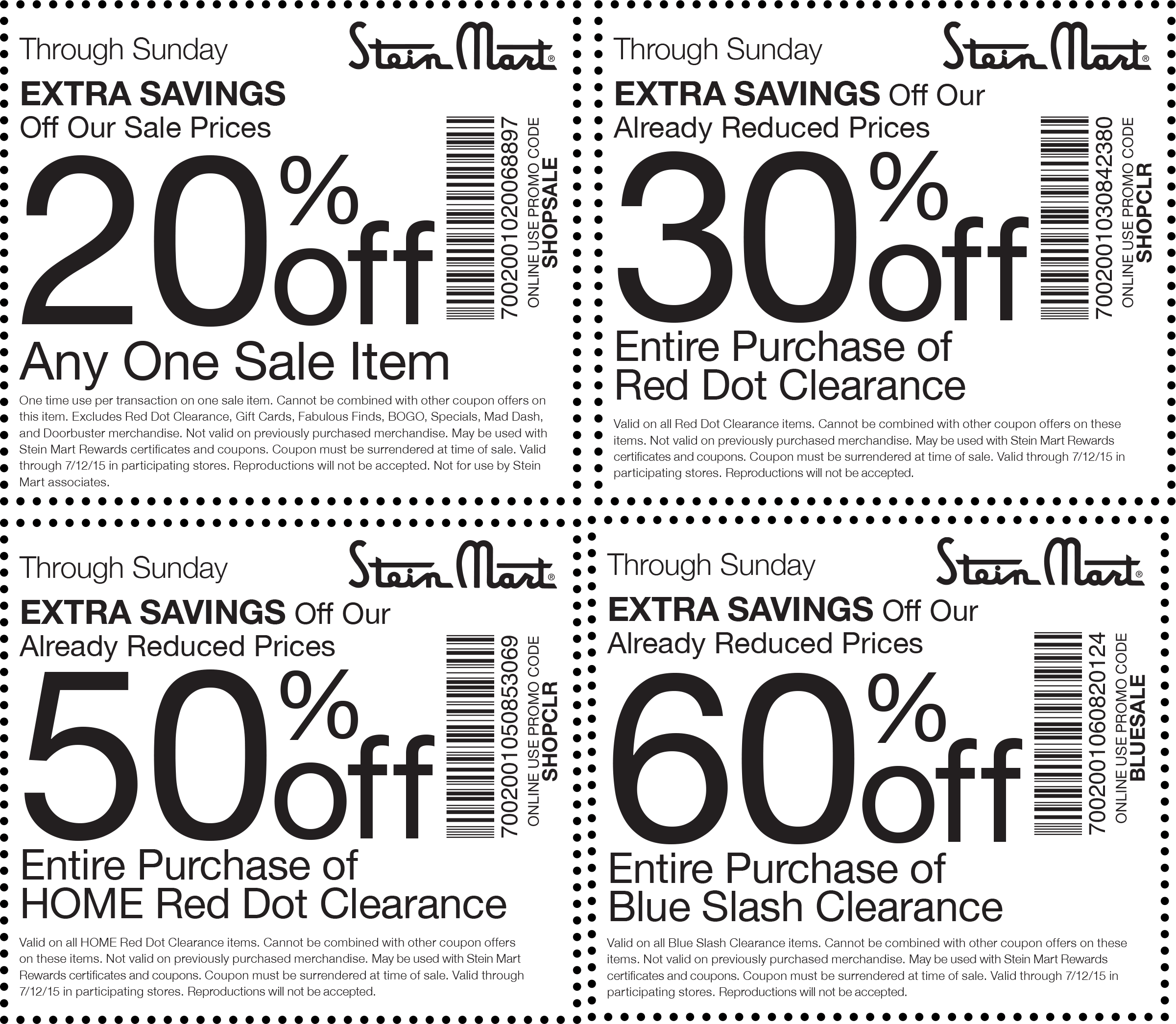 Stein Mart Coupon June 2017 Extra 20% off a single sale item, 60% off clearance & more at Stein Mart, or online via promo code BLUESALE