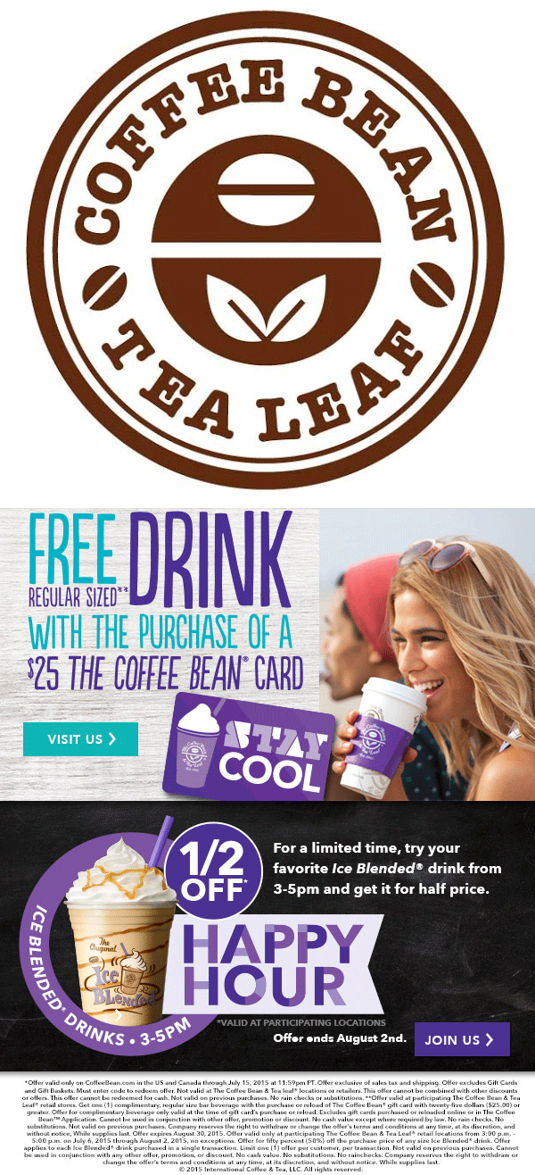 Coffee Bean & Tea Leaf Coupon September 2018 50% off ice blended drinks 3-5pm at Coffee Bean & Tea Leaf