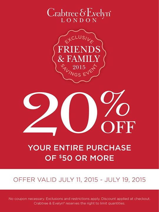 Crabtree & Evelyn Coupon March 2017 20% off $50 at Crabtree & Evelyn, or online via promo code FFSUMMER15