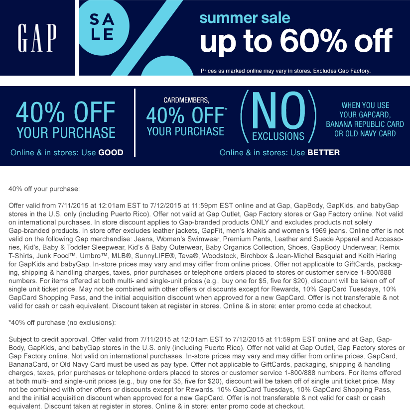 Gap Coupon July 2018 40% off today at Gap, or online via promo code GOOD