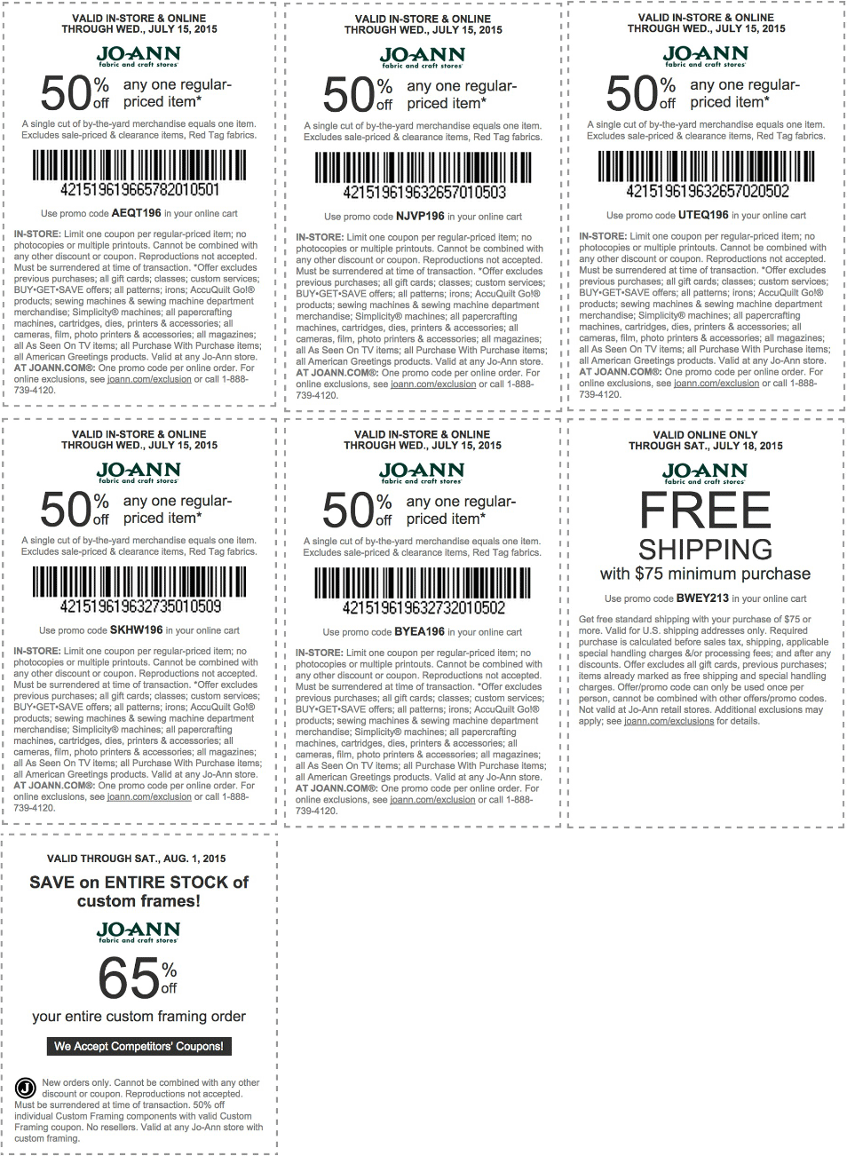 Jo-Ann Fabric Coupon January 2018 50% off a single item & more at Jo-Ann Fabric, or online via promo code AEQT196